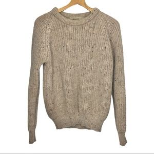 Aran Sweater Market 100% Wool Tweed Jumper Sz S